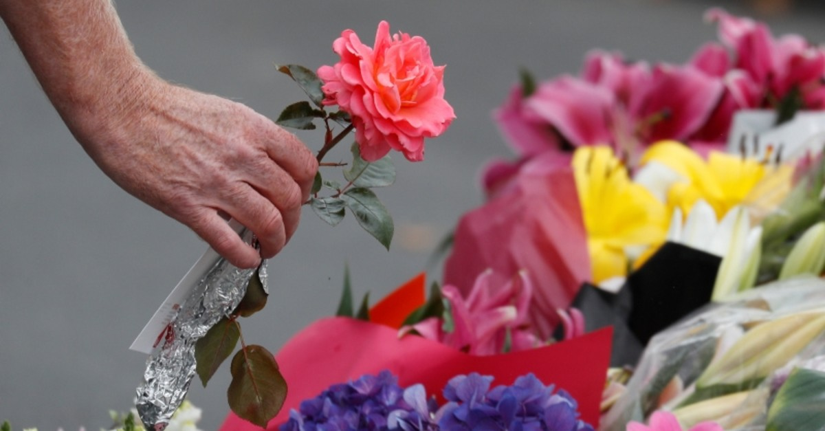 A flower is placed outside Al Noor mosque in memory of the victims of the terror attacks at two mosques in Christchurch, New Zealand, March 17, 2019. (Reuters Photo)