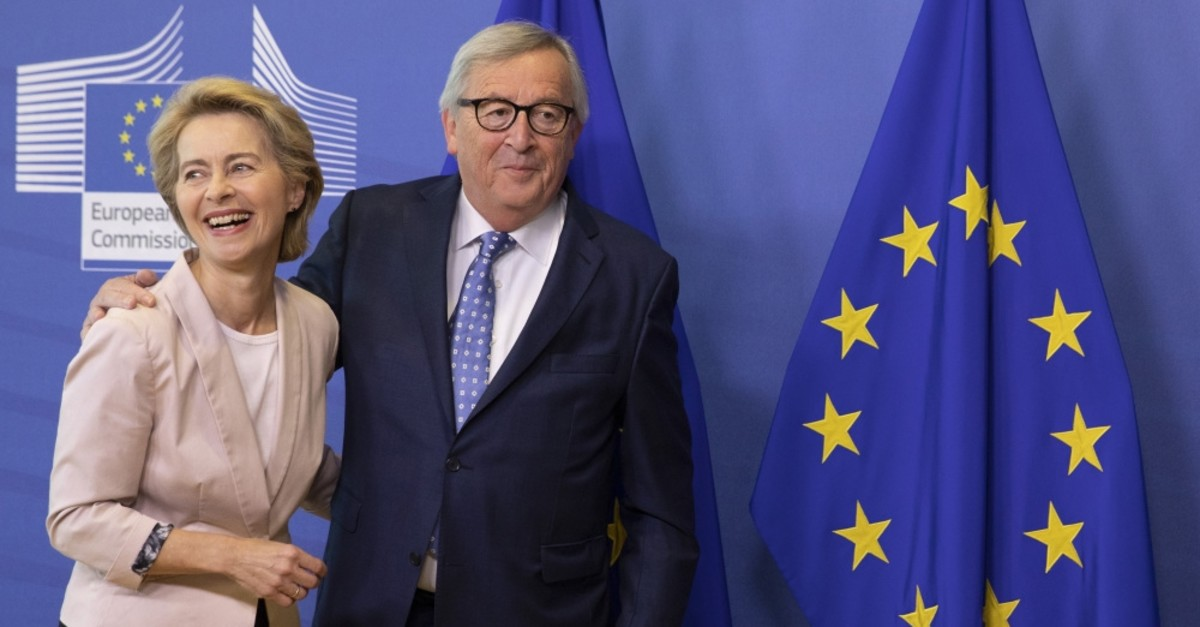 EU president-elect Ursula von der Leyen is welcomed by European Commission President Jean-Claude Juncker at EU headquarters, Brussels, July 4, 2019.