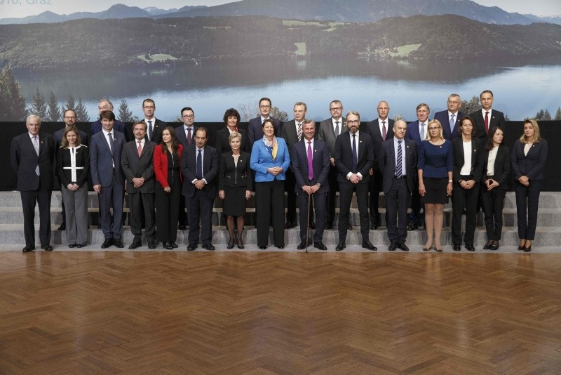 EU transport and environment ministers pose during a meeting on Oct. 29, 2018 in Graz, Austria. EU Commissioner for Transport, Slovenian Violeta Bulc and Austrian Transport Minister Norbert Hofer pose on the center. (Photo: Erwin Scheriau/APA/AFP)