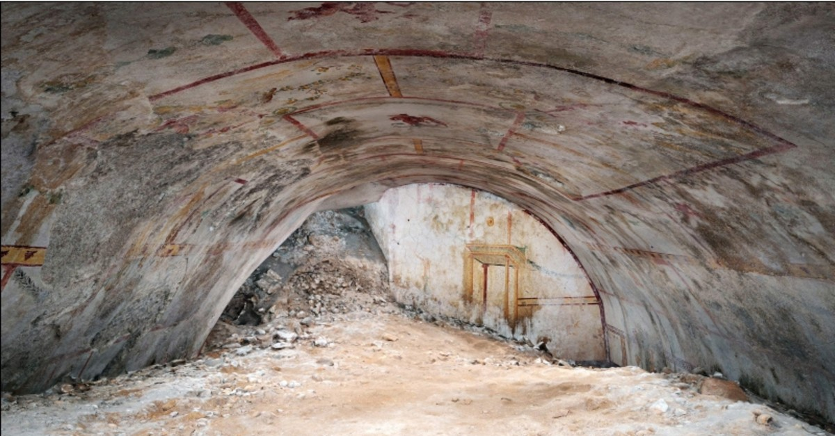 A handout photo released on May 8, 2019 and made available by the Colosseum Archaeological Park press office shows the newly discovered room of the Nero Domus Aurea, in Rome. (AFP Photo)