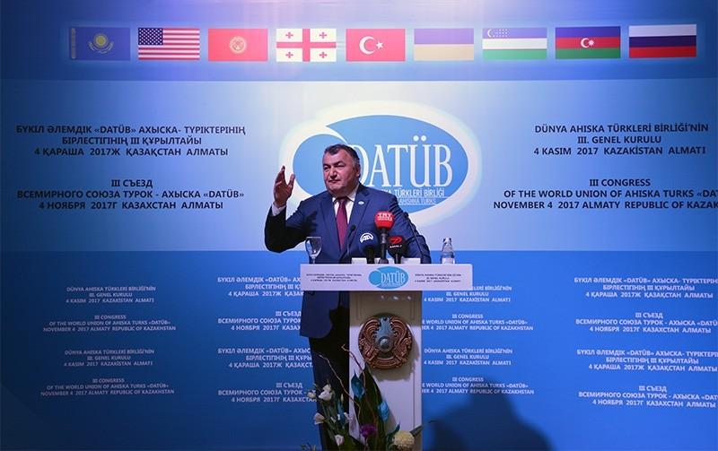 Ziyatdin Kassanov, chairman of the World Union of Ahiska Turks (DATu00dcB), speaks at the 3rd congress of the union in Kazakhstan's Almaty. (AA Photo)