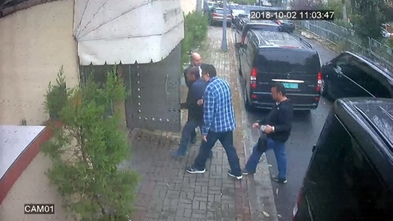 Security camera footage shows members of the 15-men hit squad entering Saudi Arabia's consulate in Istanbul on the day of Khashoggi's murder. (AA Photo)