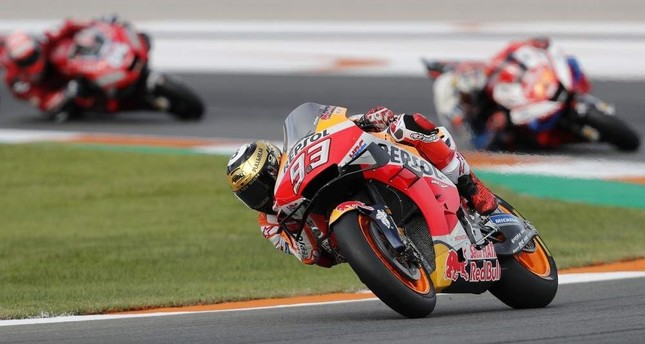 MotoGP rider Marc Marquez of Spain steers his motorcycle during the Valencia Motorcycle Grand Prix, Nov. 17, 2019. (AP Photo)