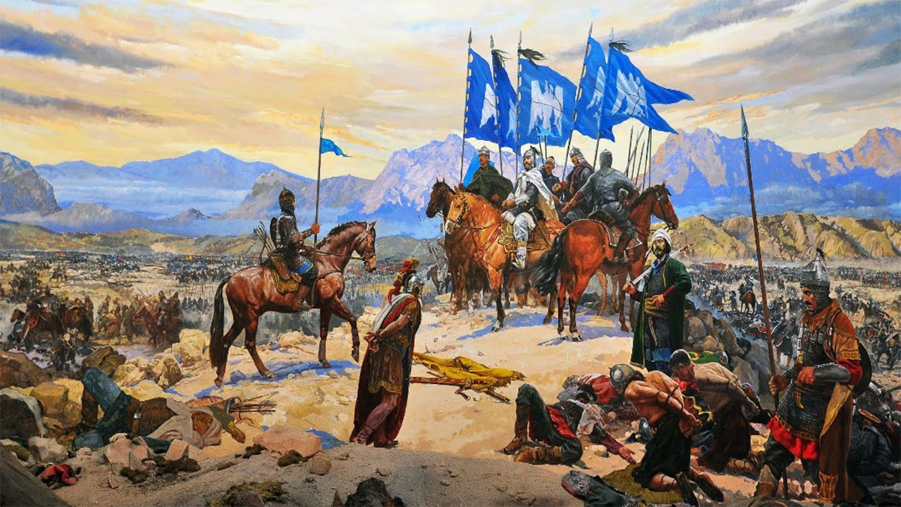 A painting depicting the Battle of Manzikert on display at the Istanbul Military Museum.