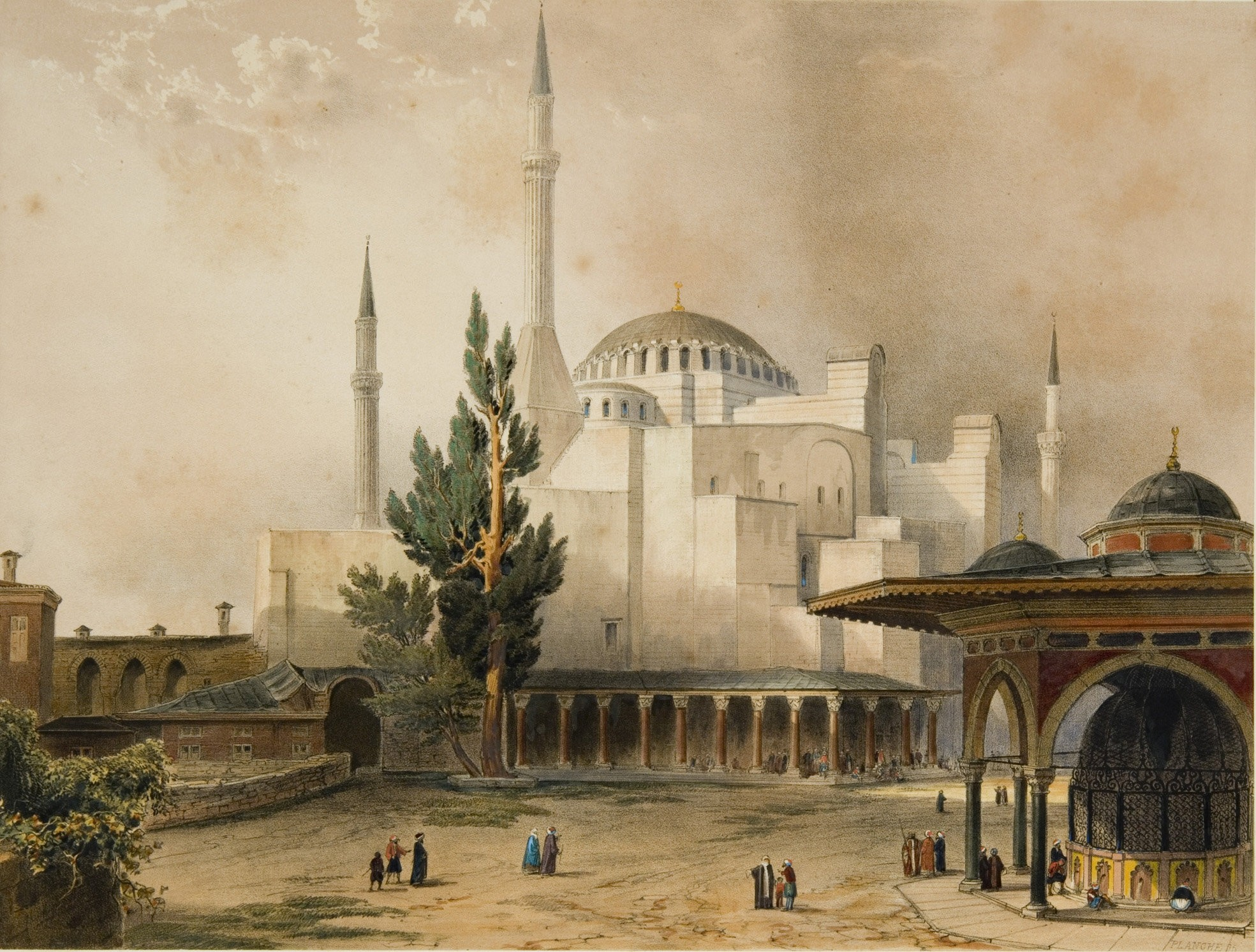 A painting by an unknown artist depicting Hagia Sophia in the 19th century.