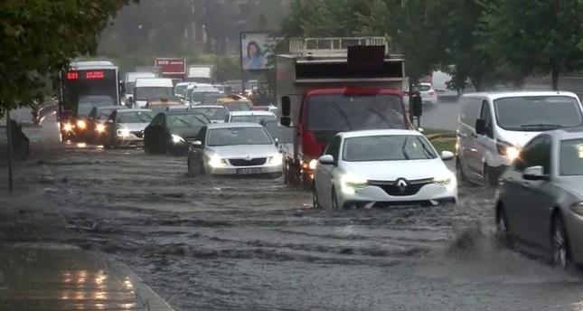 The coastal avenue in Bakırköy district was hit flash floods. IHA Photo