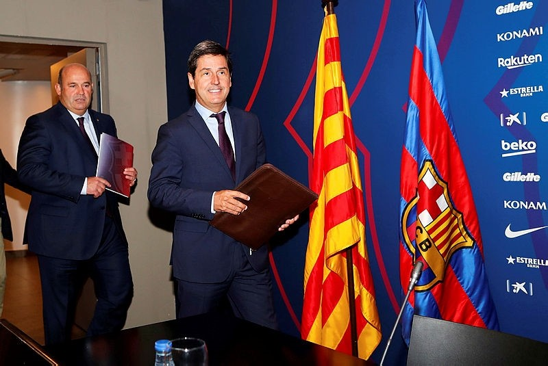 Treasurer of the Barcelona FC, Enrique Tombas (R), and Barcelona's CEO, Oscar Grau (R), arrive to a press conference to present last season's results as well as the budget passed for the next season in Barcelona, Spain, 02 October 2018.  (EPA Photo)