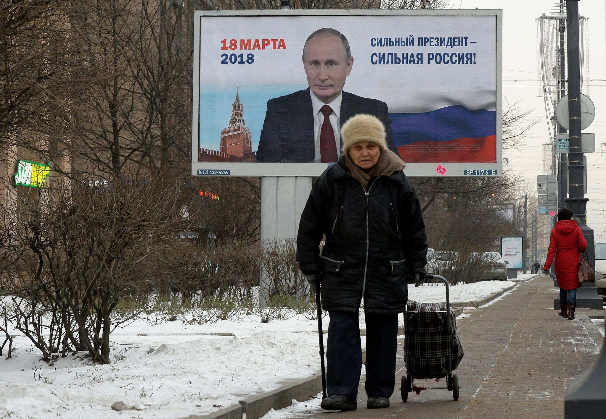 A billboard with an image of Russian President Vladimir Putin that says: u201cStrong president - Strong Russia!u201d Saint Petersburg, Jan. 12, 2018.
