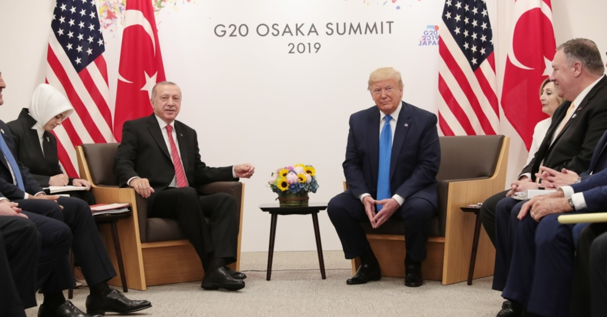 President Recep Tayyip Erdou011fan (L), U.S. President Donald Trump and their delegations during a meeting on bilateral relations at the G20 summit, Osaka, Japan, June 29, 2019.