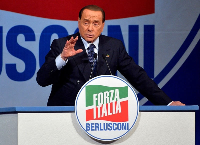 This file photo taken on May 22, 2014 shows  Former Italian Prime Minister and president of the Italian center-right Forza Italia (FI) party, Silvio Berlusconi during a rally. (AFP Photo)