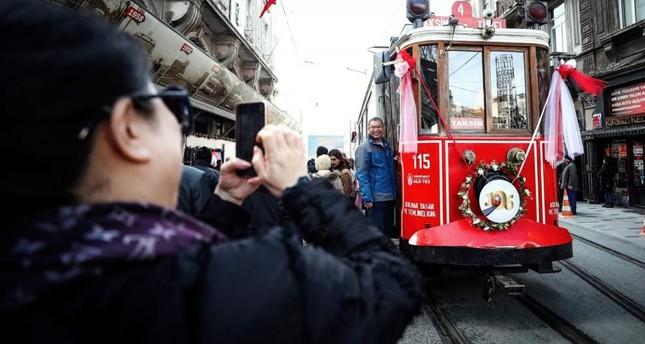 Tourists take photos alongside a nostalgic tram, an indispensable sight of ?stiklal Avenue in Taksim, Istanbul, Feb. 11, 2020. AA Photo
