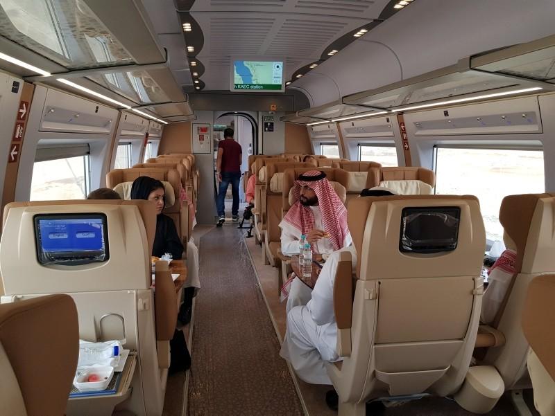 Saudi people are seen inside of the new Haramain speed train in Jeddah, Saudi Arabia September 18, 2018. (Reuters Photo)