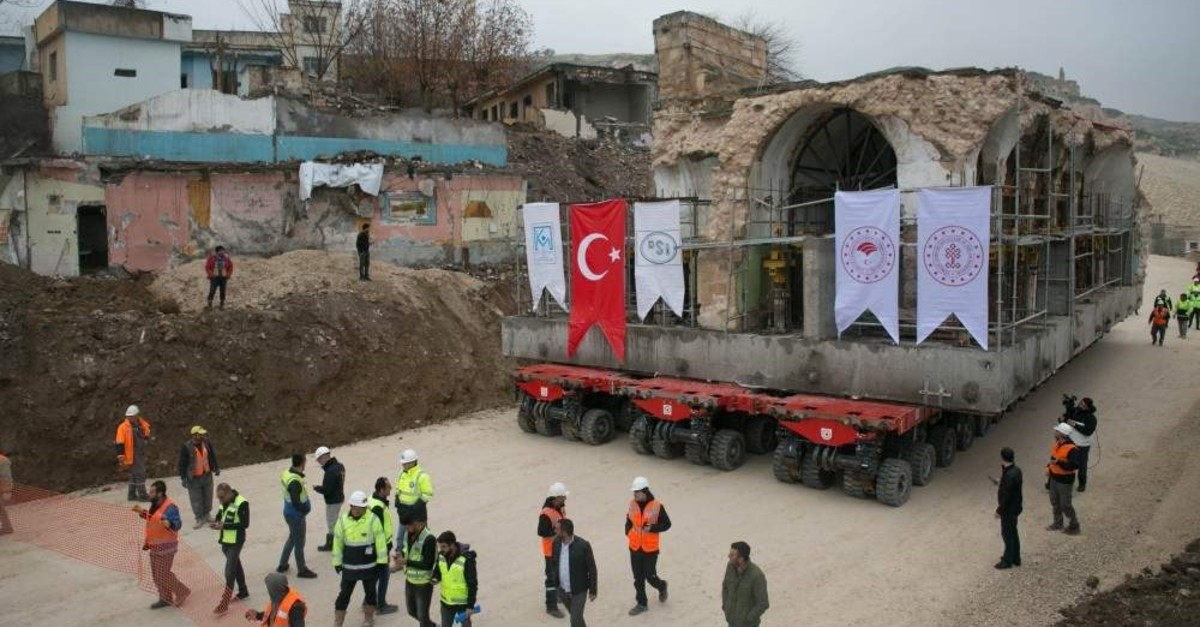 The 609-year-old mosque was transported from the ancient city of Hasankeyf to be protected from flooding due to the construction of a dam nearby. (IHA Photo)