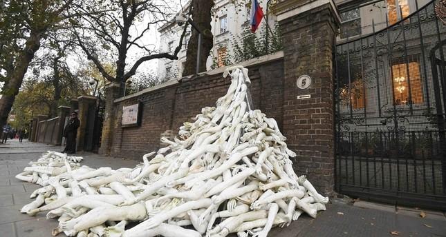 أشلاء بشرية أمام السفارة الروسية في لندن