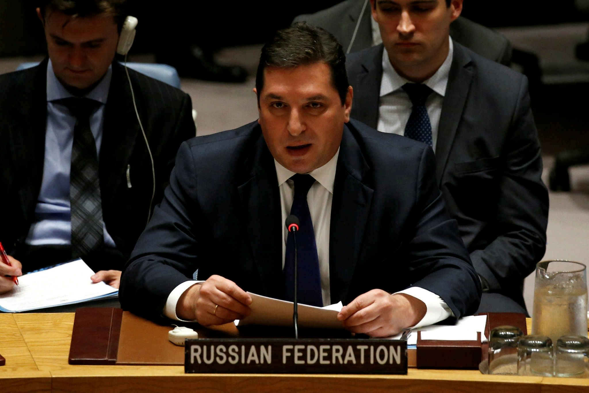 Russian Deputy Ambassador to the United Nations Vladimir Safronkov addresses the U.N. Security Council as it meets to discuss the recent ballistic missile launch by North Korea at U.N. headquarters in New York, U.S., July 5, 2017. (Reuters Photo)