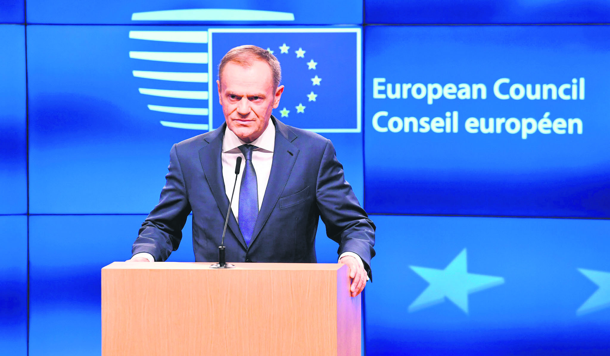 European Council President Tusk addresses a media conference at the Europa building, Brussels,  Dec. 8.