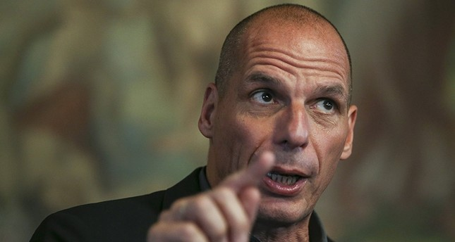 Former Greek Finance Minister, Yanis Varoufakis during a press conference with several members of other parties and movements to present the results of the Second Council of the Transnational List, Lisbon, Portugal, April 26, 2018. (EPA Photo)