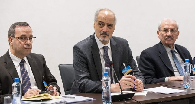 Syrian Ambassador to the UN and head of the regime delegation Bashar al-Jaafari (C) attends a meeting during the Intra-Syrian talks in Geneva on November 30, 2017. (AFP Photo)
