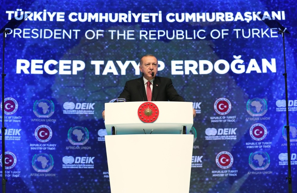President Recep Tayyip Erdou011fan speaks at the 2nd Turkey-Africa Economy and Business Forum in Istanbul, Oct. 10.