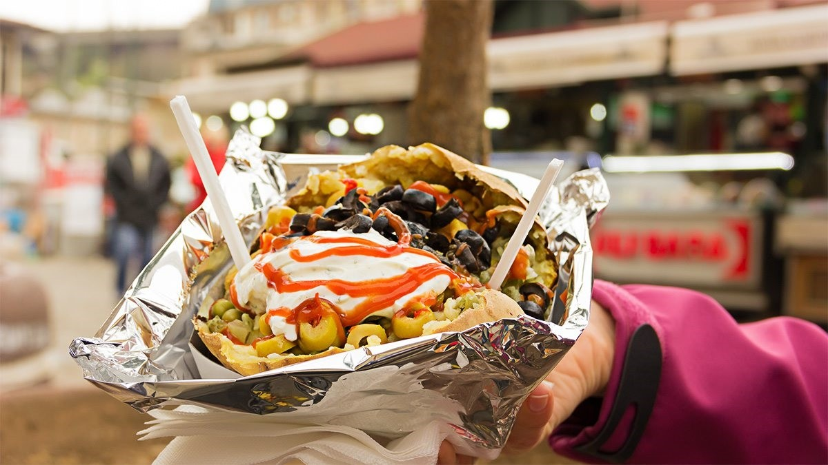 Kumpir, which is stuffed baked potatoes, is one of the bestselling street food in Turkey.