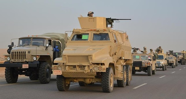 In this undated handout photo made available Feb. 9, 2018, Egyptian Army's Armored Vehicles are seen on a highway to North Sinai during a launch of a major assault against militants in Ismailia, Egypt. (Egypt's Ministry of Defense via Reuters)