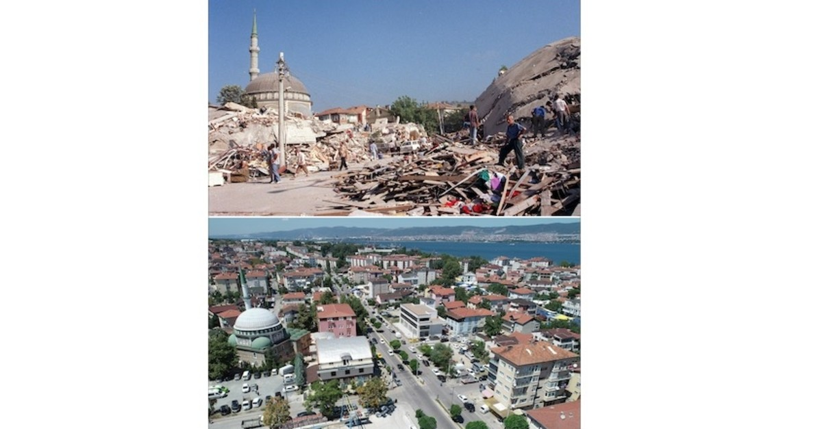 The Dumlupu0131nar neighborhood of Gu00f6lcu00fck in the immediate aftermath of the earthquake (above) and present-day Dumlupu0131nar (below).