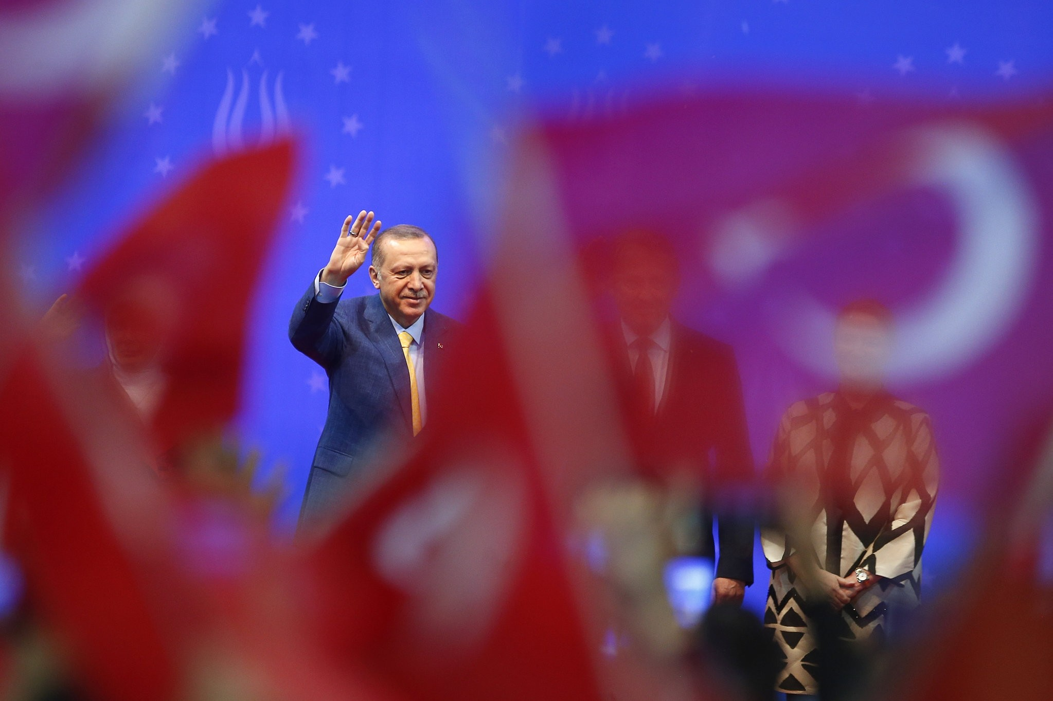 President Erdou011fan greets supporters during a pre-election rally in Sarajevo, Bosnia-Herzegovina, May 20.