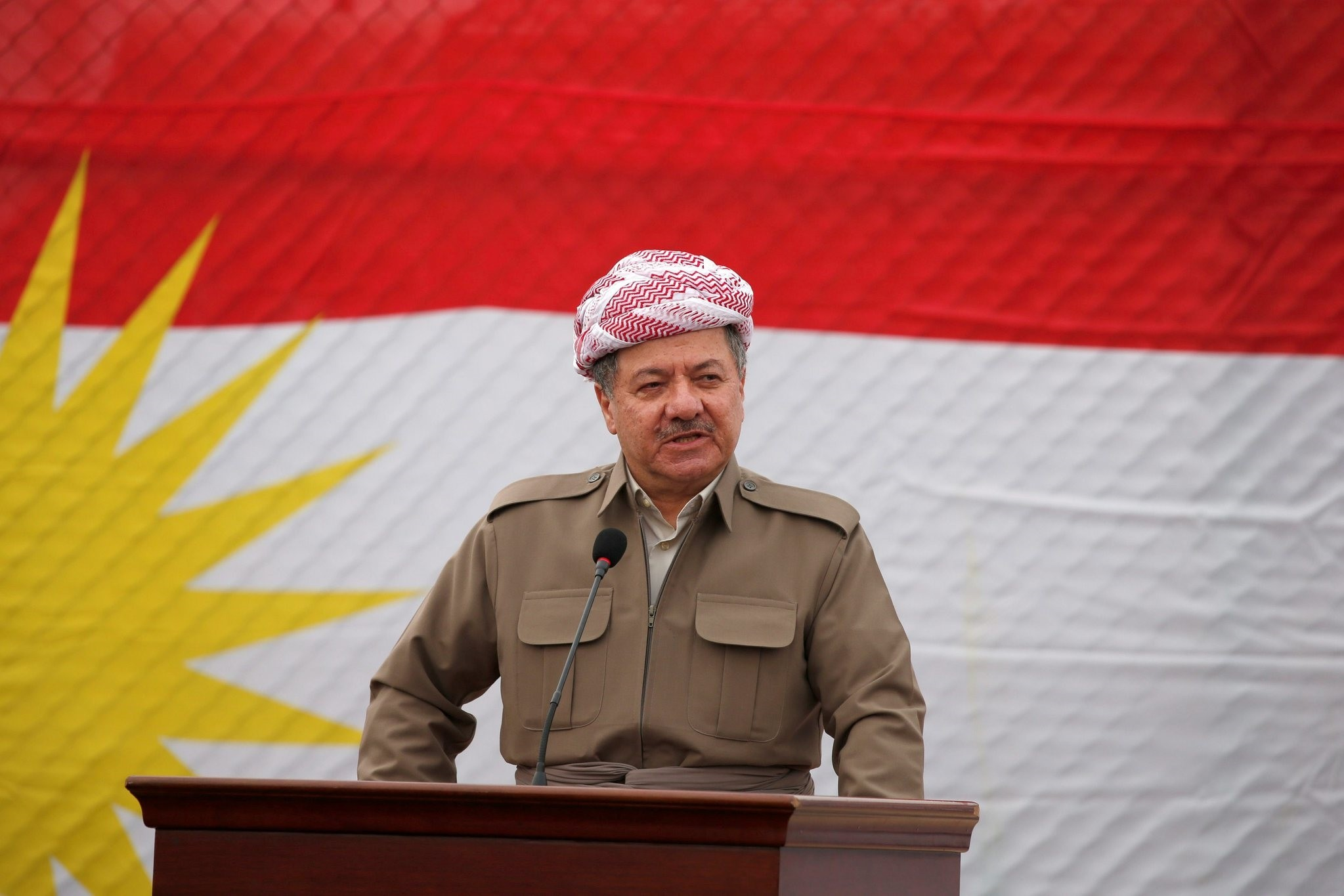 Kurdish Regional Government President Masoud Barzani speaks to the media during his visits in the town of Bashiqa, after it was recaptured from the Islamic State, east of Mosul, Iraq, November 16, 2016. (REUTERS Photo)