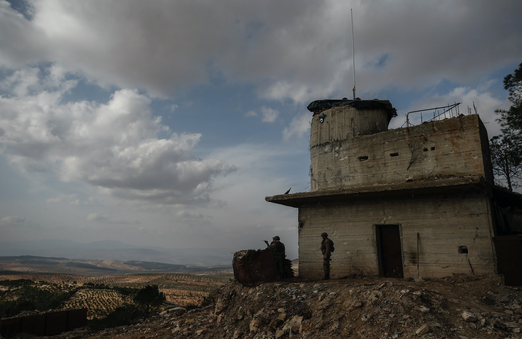 Turkish soldiers hold a position on the Bursayah hill during the counterterrorism offensive against YPG terrorists, Afrin, Syria, March 3.