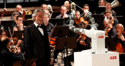 pItalian tenor Andrea Bocelli's voice soars to the rafters of the Tuscan theater, but all eyes are on the orchestral conductor beside him -- a robot with an apparent penchant for Verdi./p  pThe...