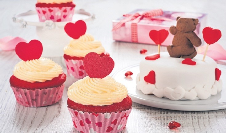 The double cake decorated with teddy bear figures prepared by talented chefs of Cakes&Bakes and Red Velvet cupcakes crowned with red hearts for St. Valentineu2019s Day are quite ambitious.
