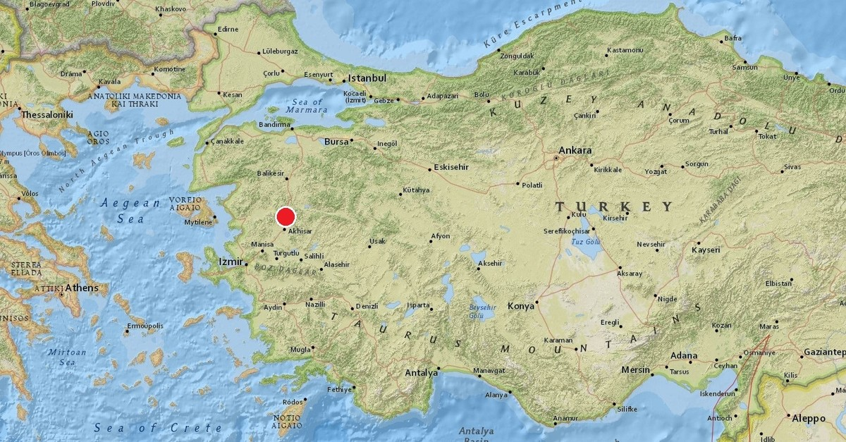 Screenshot from USGS shows the epicenter of the earthquake that struck Manisa.