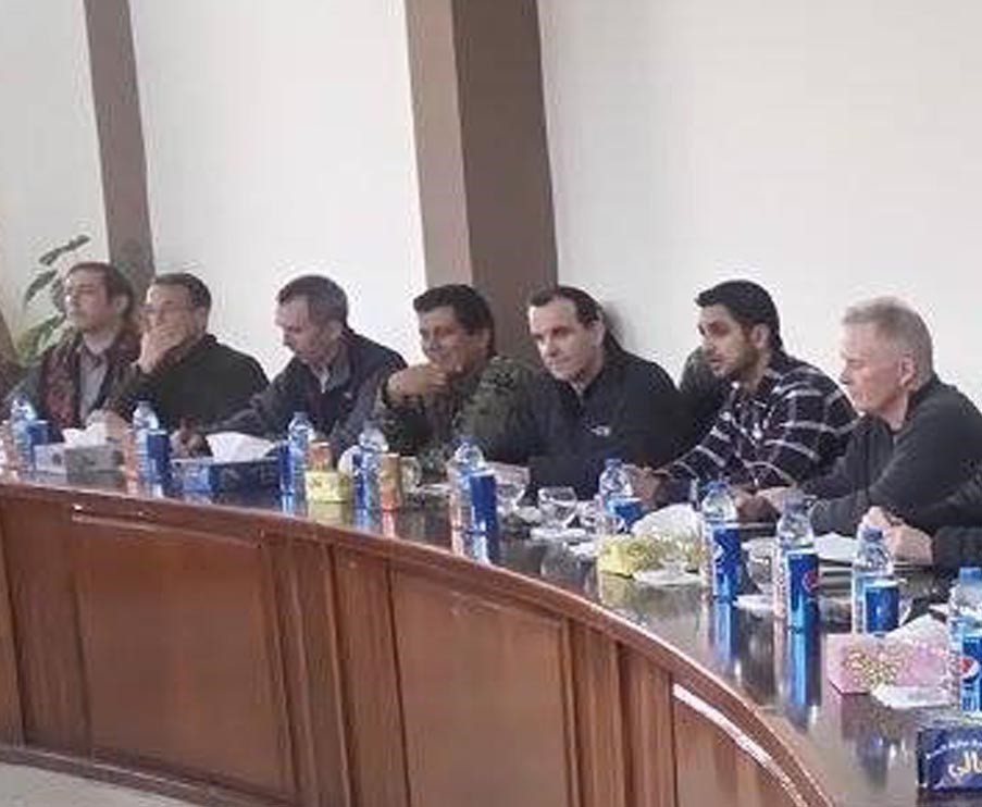 Trumpu2019s special envoy to Deash (third from the right) sits side by side with the most wanted PKK terrorist u015eahin Cilo at a meeting in Kobani in 2016.
