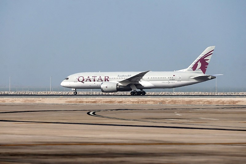 This file photo taken on July 20, 2017 shows a Qatar Airways plane taking-off from the Hamad International Airport in Doha. (AFP Photo)