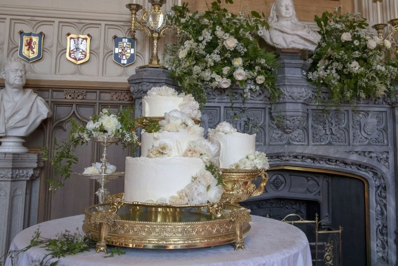 The wedding cake by Claire Ptak of London-based bakery Violet Cakes is pictured in Windsor Castle for the wedding of Britain's Prince Harry, Duke of Sussex and US fiancee of Britain's Prince Harry Meghan Markle on May 19, 2018.