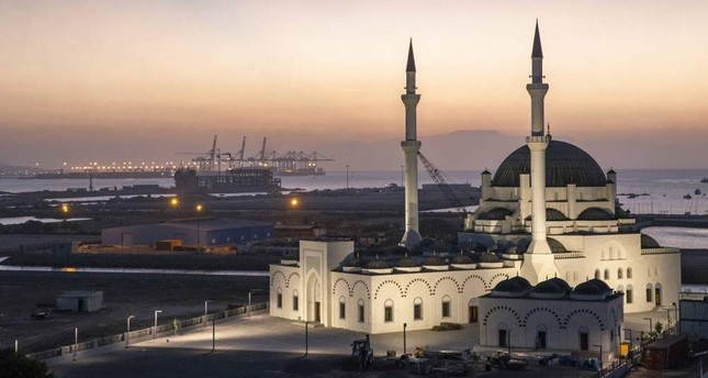 The mosque is situated in an area reclaimed from the sea. (AA Photo)