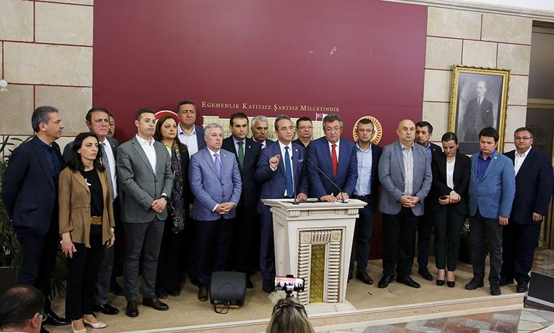CHP deputies hold a press conference in the parliament in Ankara, April 22, 2018. (AA Photo)