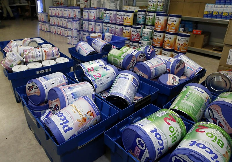 Removed baby milk boxes are pictured in a drugstore in Anglet, southwestern France, Monday, Dec.11, 2017. (AP Photo)