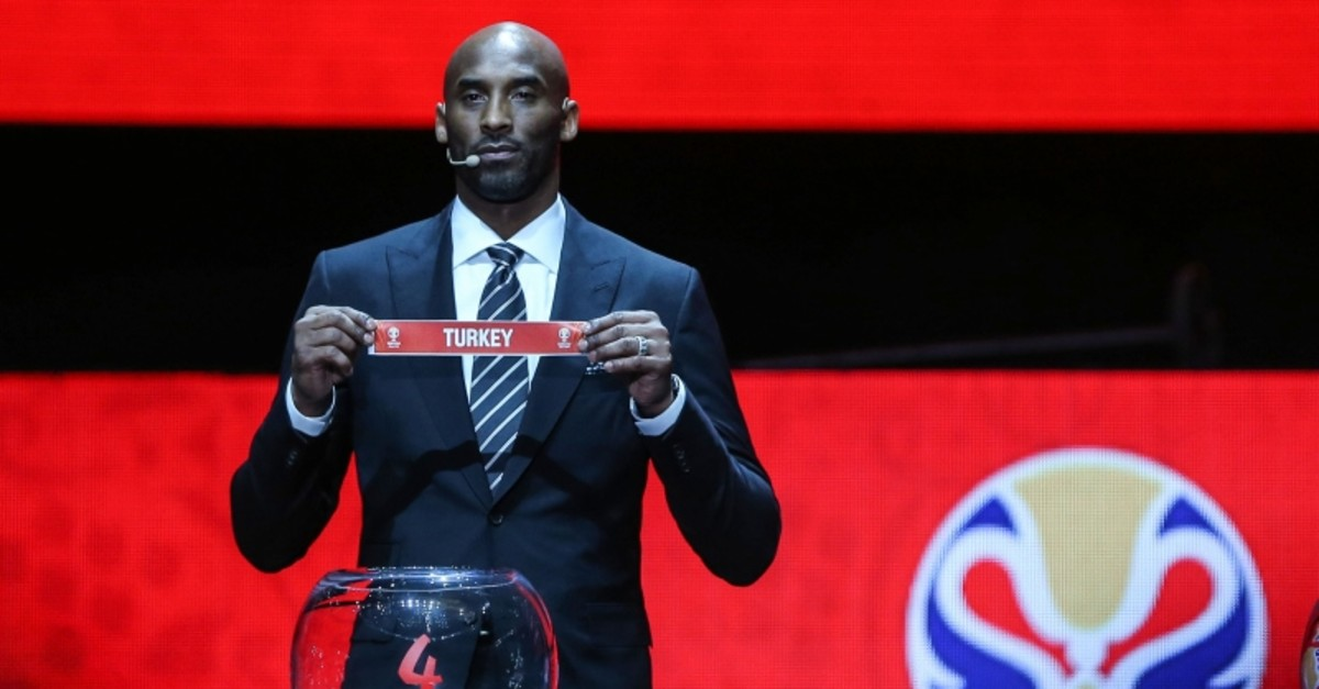 NBA star Kobe Bryant draws Turkey during the FIBA 2019 World Cup draw event in Shenzen, China, March 16, 2019. (AA Photo)