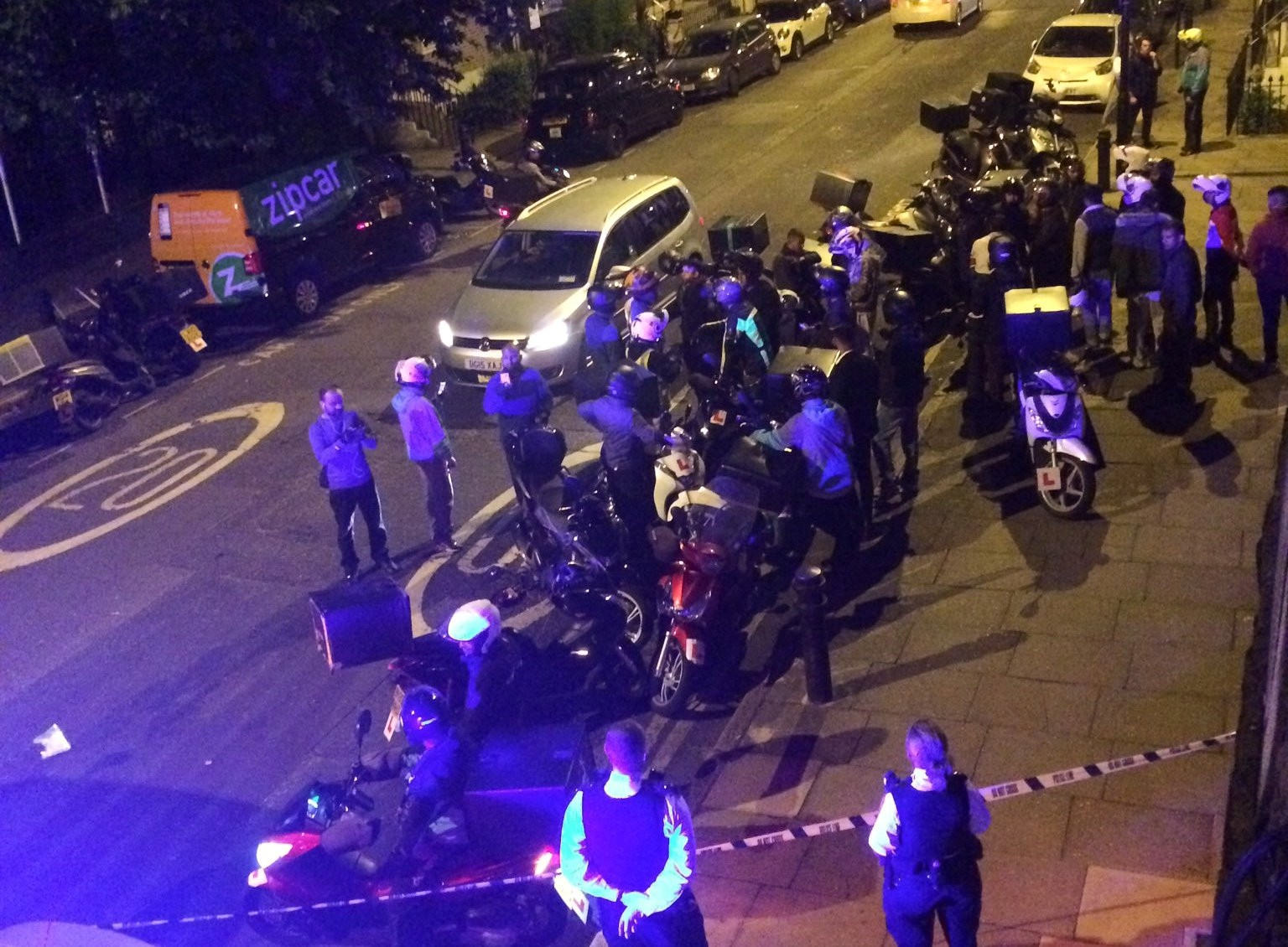 Emergency response following acid attack on the junction of Hackney Road junction with Queensbridge Road, London, July 13, 2017 in the picture obtained from social media.