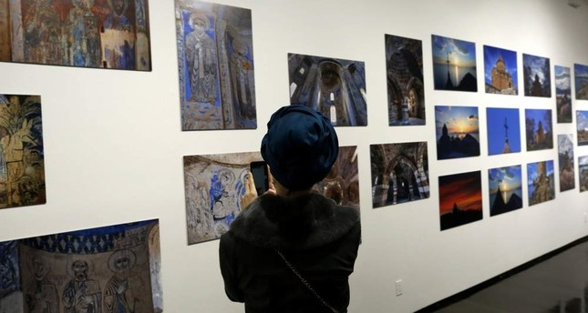 The exhibition features a total of 88 photos of the Akdamar Church. (AA)