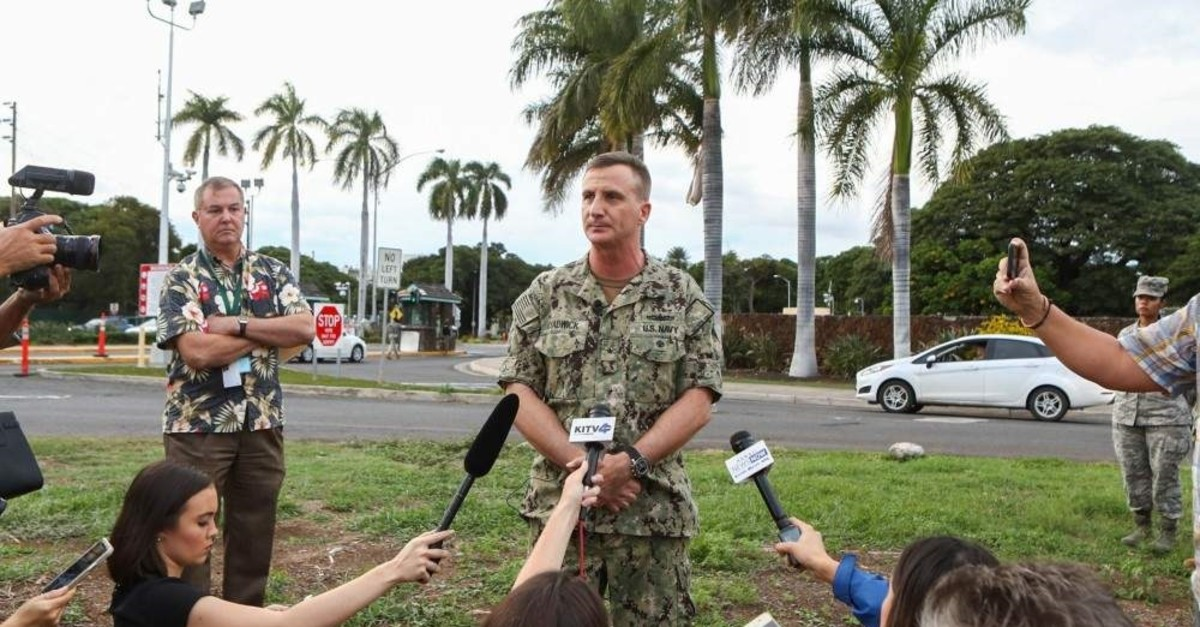 Rear Admiral Robert Chadwick answers questions at a news conference outside of the Nimitz Gate entrance to Joint Base Pearl Harbo rHickam on Dec. 4, 2019 in Honolulu, U.S. (Getty Images/AFP)