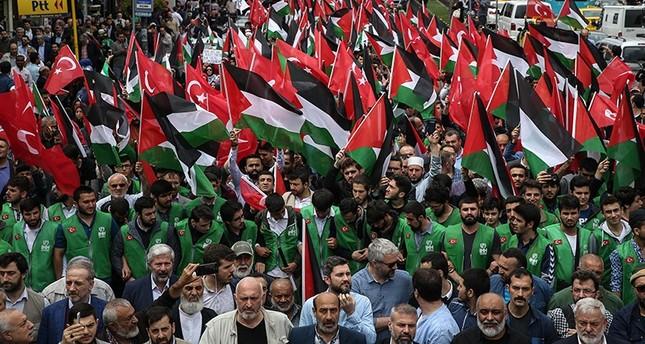 أتراك وعرب يتظاهرون في إسطنبول دعمًا لـمسيرات العودة