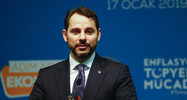 Treasury and Finance Minister Berat Albayrak speaks at an event attended by representatives of the Turkish business world in Antalya, Jan. 17, 2019.