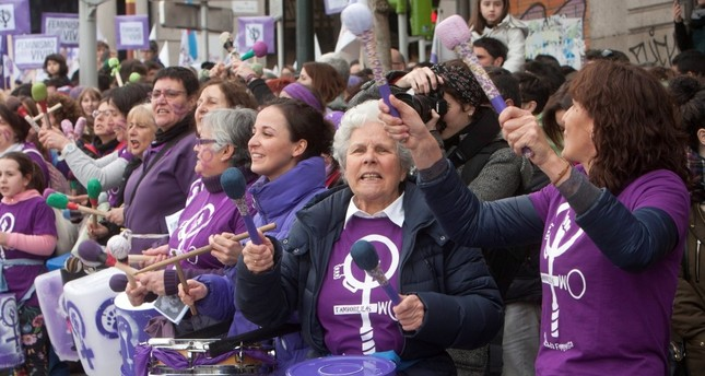 Spanish women go on strike in homes, workplaces on Women's Day