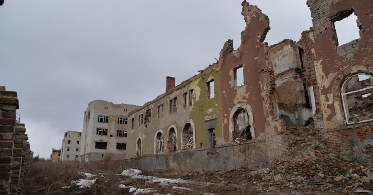 A hospital damaged in heavy shelling by seperatists, Slavyansk, Feb. 27, 2019.