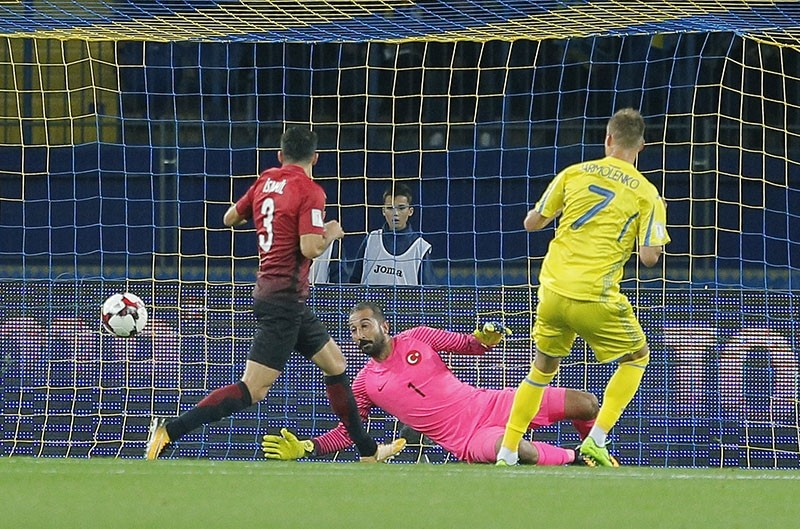 Ukraine's Andriy Yarmolenko scores his side's first goal during the World Cup Group I qualifying soccer match between Ukraine and Turkey at the Metalist Stadium in Kharkiv, Ukraine, Saturday, Sept. 2, 2017. (AP Photo)