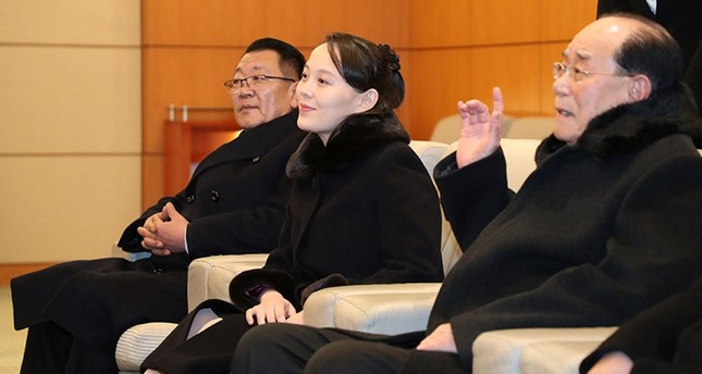 North Korean leader Kim Jong Un's younger sister Kim Yo Jong and president of the Presidium of the Supreme People's Assembly Kim Yong Nam meet South Korean officials in Incheon, South Korea February 9, 2018. (Reuters Photo)