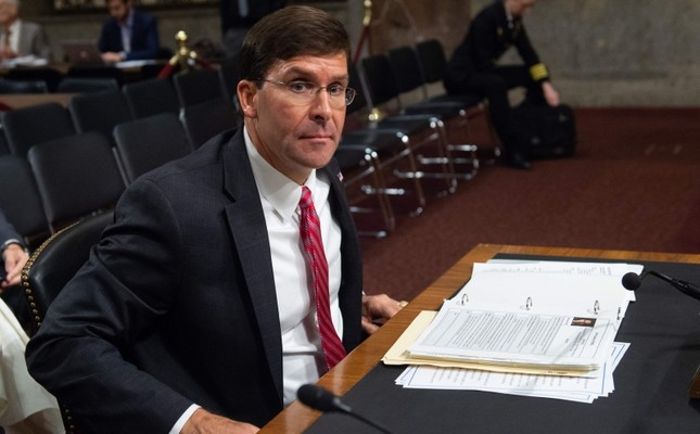 US Secretary of the Army Mark Esper, nominee to be Secretary of Defense, leaves after testifying during a Senate Armed Services Committee confirmation hearing on Capitol Hill in Washington, DC, July 16, 2019. (AFP Photo)