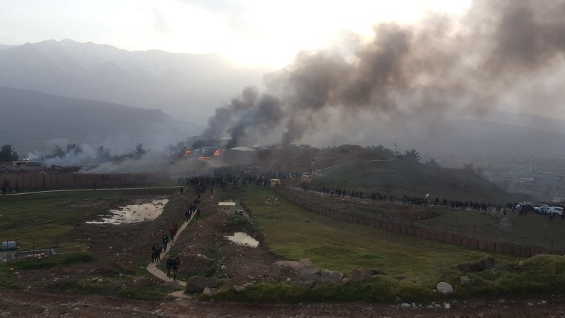 Smoke rises from a Turkish military camp (Reuters Photo)